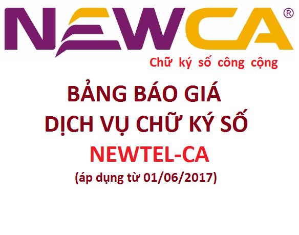 Điều chỉnh bảng báo giá chữ ký số NEWCA mới nhất áp dụng từ 01/10/2017