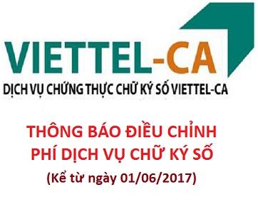 Chữ ký số Viettel-ca điều chỉnh giá dịch vụ kể từ ngày 01/06/2017