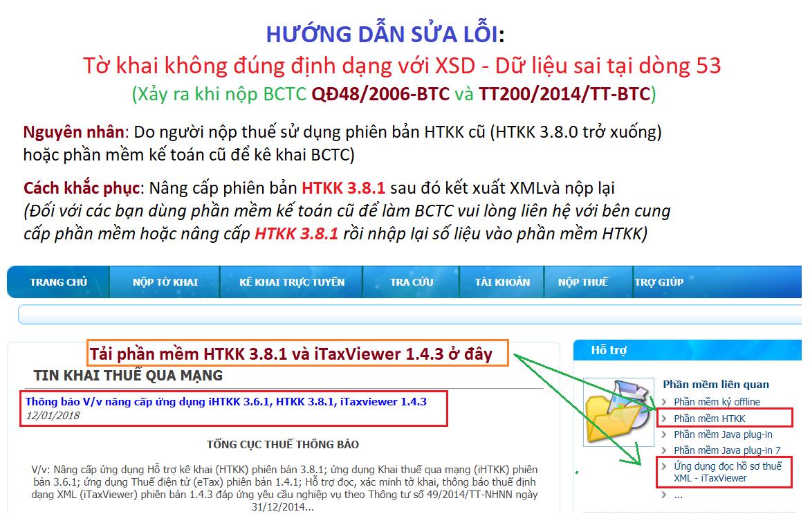 Tờ khai không đúng định dạng với XSD. -Dữ liệu sai tại dòng: 53