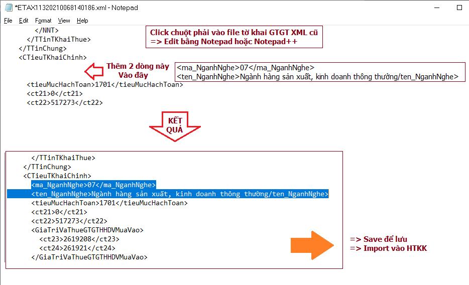 sửa file XML GTGT sai cấu trúc bằng notepad