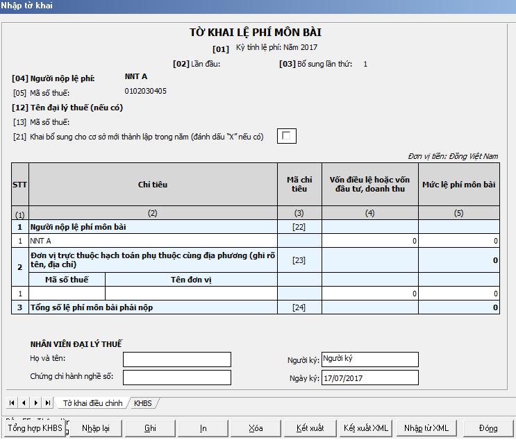 Kê khai bổ sung tờ khai Lệ phí môn bài