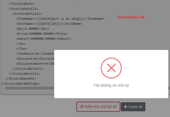 Kiểm tra file XML không có chữ ký sô